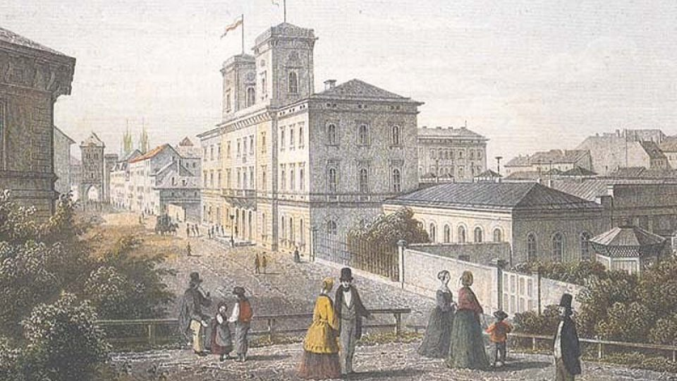 Masarykovo nádraží kolem roku 1850. Místo pro jeho stavbu vybral Jan Perner.