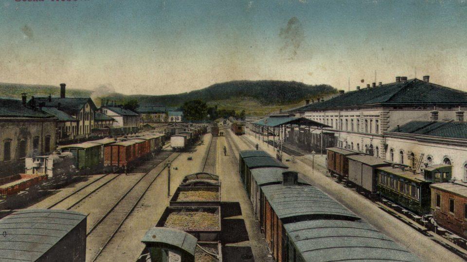 Českotřebovské nádraží na pohlednici, počátek 20. století