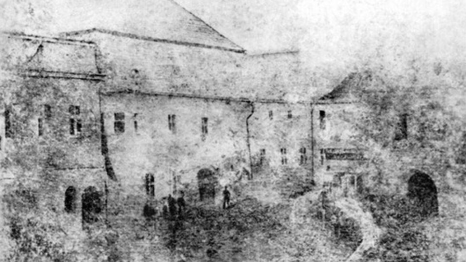 Daguerrotypie staré pošty v Litomyšli z roku 1840