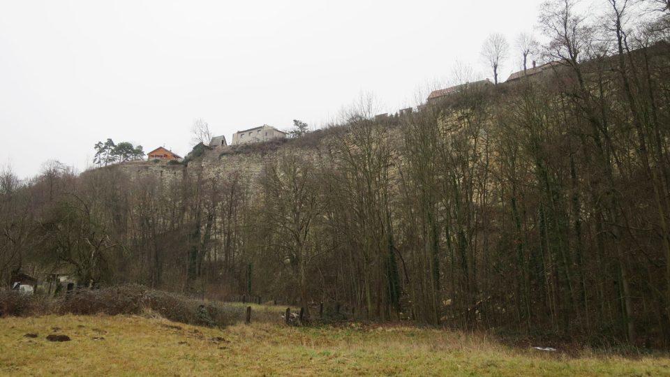 Nad Podskálou se tyčí až třicet metrů vysoká opuková skalní stěna