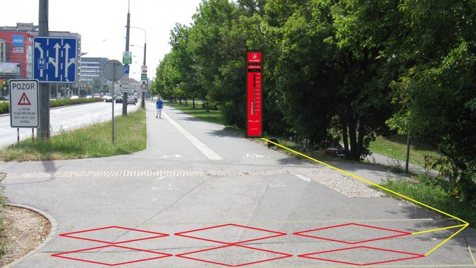 Indukční smyčka v povrchu cyklostezky je u mostu Pavla Wonky doplněná displejem, který ukazuje počet cyklistů