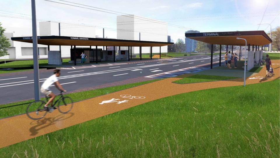 Součástí projektu má být i úprava okolních cyklostezek, které vedou bezprostředně kolem zastávky