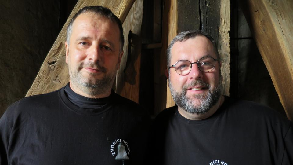 Holičtí zvoníci Tomáš Beran a Lukáš Peška