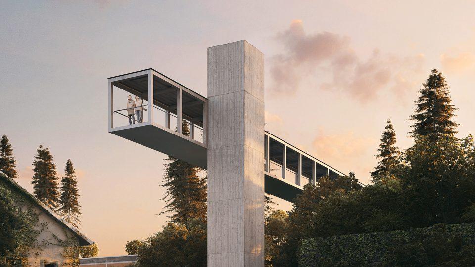 Vizualizace nového nadchodu s vyhlídkou a výtahem v Litomyšli