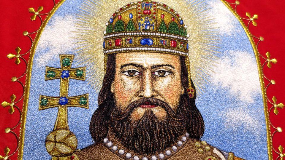 Detail výšivky s portrétem Svatého Štěpána