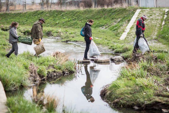 Během akce Ukliďme Česko dobrovolníci uklízí například okolí řek