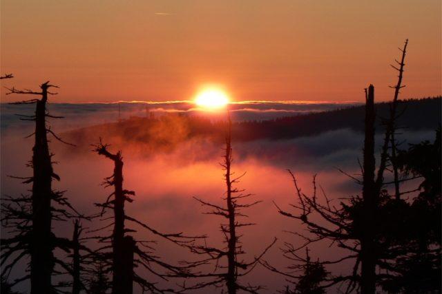 Západ slunce v Krkonoších