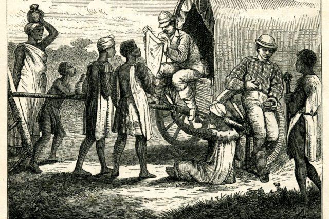Emil Holub obchoduje s domorodci. Ilustrace z prvního vydání cestopisu Sedm let v jižní Africe (1880-81)