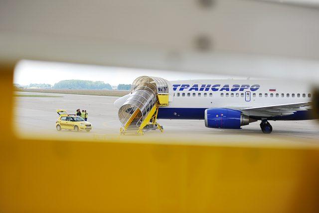 Letadlo je na pardubickém letišti připravené na odlet do Moskvy