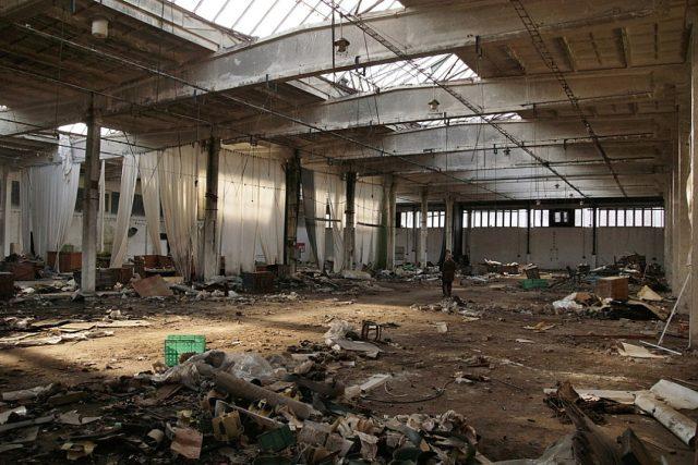 Výrobní hala bývalé Schindlerovy továrny v Brněnci u Svitav