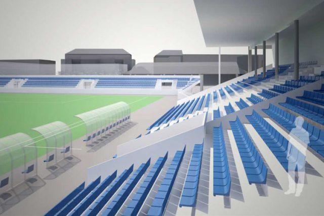 Vizualizace tribun po rekonstrukci letního stadionu v Parduibcích