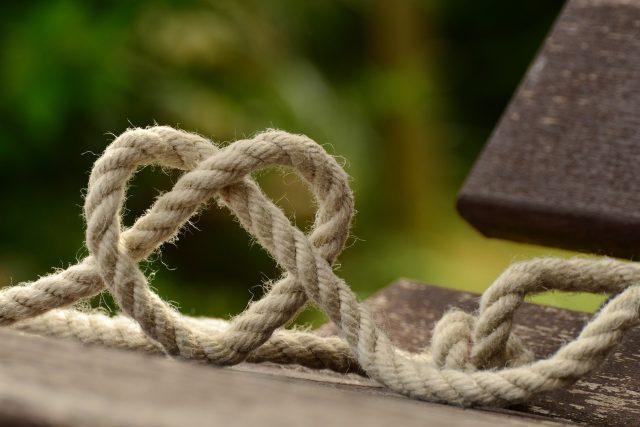 vlákno, lano, láska, romantika