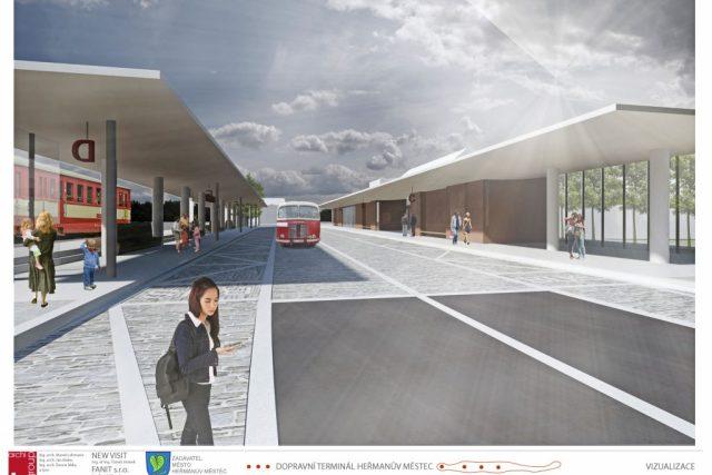 Heřmanův Městec - terminál - vizualizace