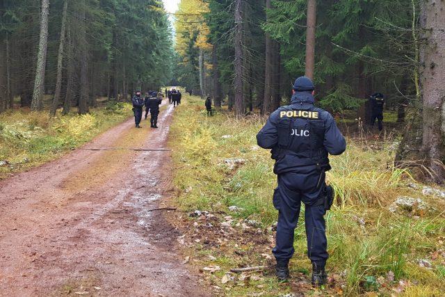 Uprostřed brdských lesů pátraly desítky policistů.  Nacvičovali hledání ztraceného houbaře a nebezpečného pachatele