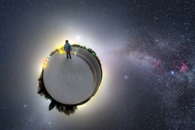 Nebe nad sečskou přehradou na panoramatické fotce ve stylu malé planety | foto: Petr Horálek