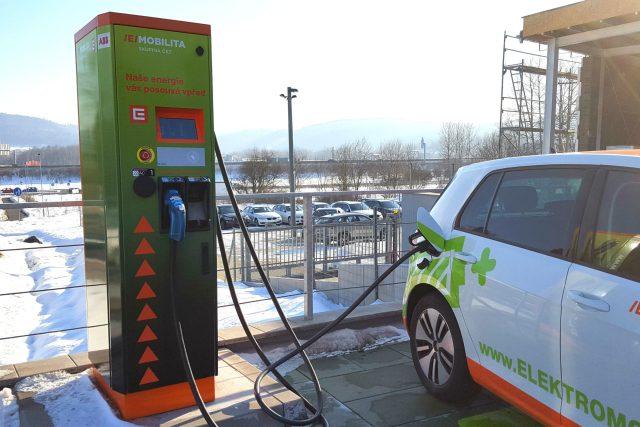 Veřejná čerpací stanice pro elektromobily v Jenišově u Karlových Varů