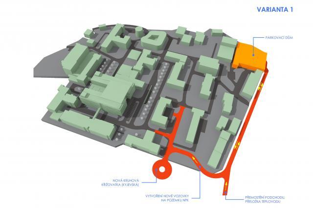Plánované dopravní napojení pardubické nemocnice na nový kruhový objezd