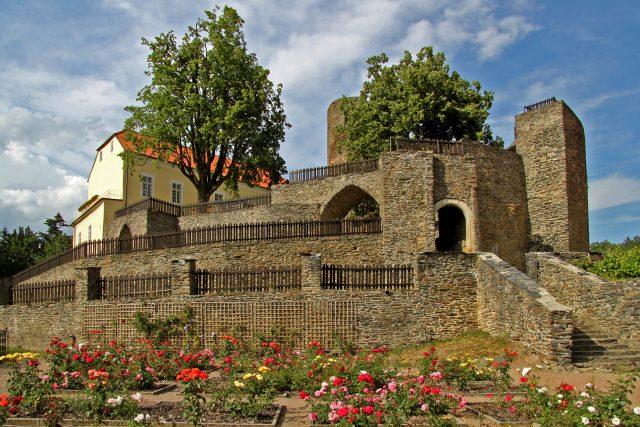 Zahrada plná růží na hradě Svojanov