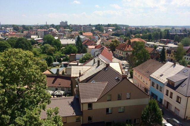 Výhled z věže Občanské záložny ve směru na Pardubice