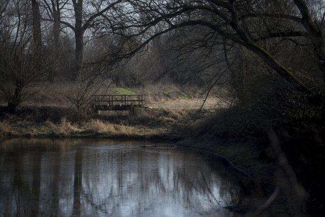 Lávka přes rybník Tišina v Řečanech nad Labem