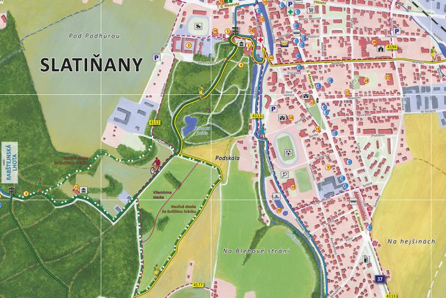Ručně malovaná mapa Slatiňan   foto: CBS Nakladatelství
