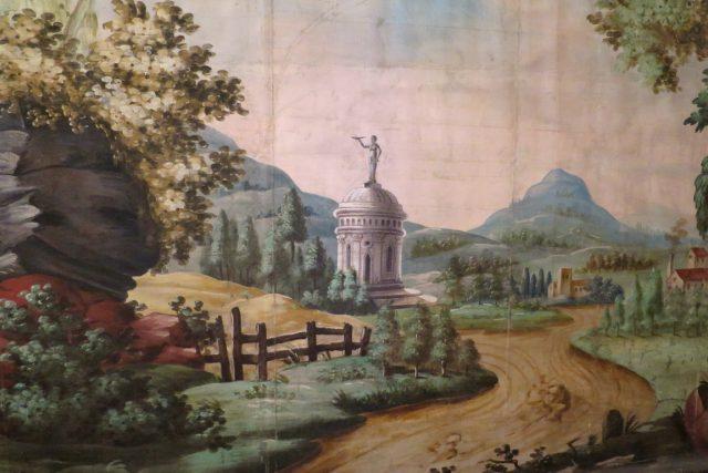 Originální zadní prospekt divadelních kulis Josefa Platzera s krajinnou scénou
