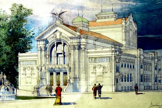 Studie Městského divadla v Pardubicích od architekta Antonína Balšánka z roku 1906