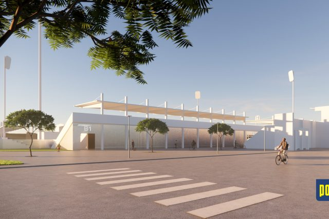 Stavba nového letního stadionu počítá se zachováním Brány borců (na snímku vpravo)
