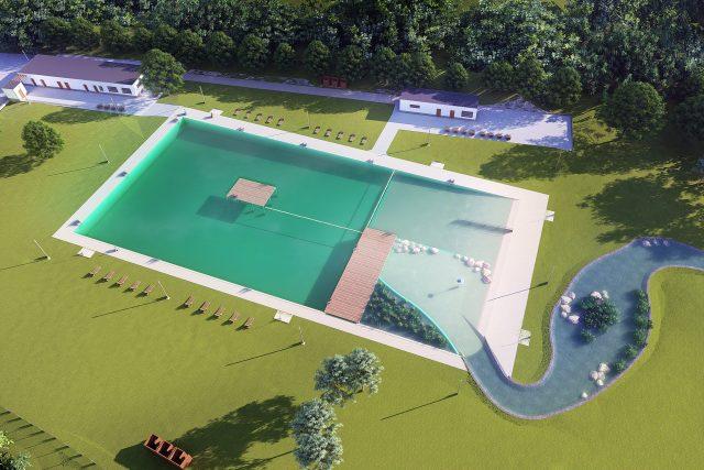 Koupaliště bude mít koupací část pro plavce, neplavce a brouzdaliště. Voda z filtrační části povede stometrovým herním potokem