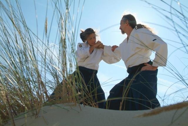 Bojovníci trénují aikido v přírodě