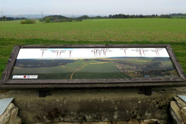 Panoramatická  tabule na podhledně informuje návštěvníky o tom, co vidí i nevidí