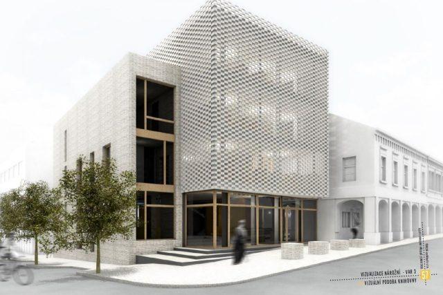 Architektka Soňa Formanová v návrhu schovala tři podlaží knihovny za částečně průhlednou fasádu