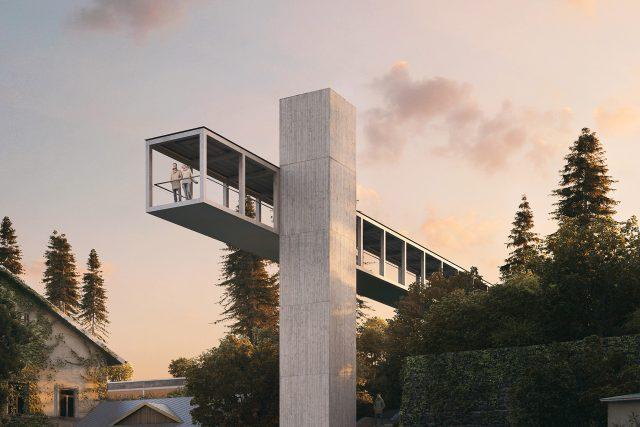 Vizualizace nového nadchodu s vyhlídkou a výtahem v Litomyšli | foto: město Litomyšl