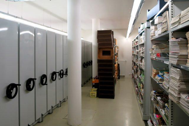 Konzervační fond se nachází v suterénu vnitřní přístavby knihovny